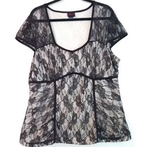 Torrid Lace Overlay Top Black Ivory Size 2X